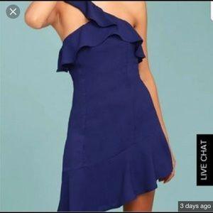 Lulu's Blue One Shoulder Strap Ruffle Dress